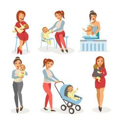 Mother nursing newborn child flat icons vector