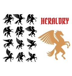 Mythical animals heraldic icons emblems vector