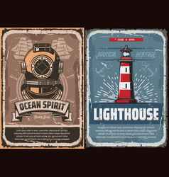 nautical lighthouse and vintage diver helmet vector image