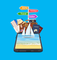 online holiday travel mobile app vector image