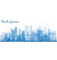 Outline Rio de Janeiro skyline with blue buildings vector image