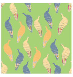 Peacock endless pattern on green background vector