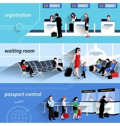 People In Airport Banners vector
