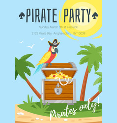 Pirate kid party poster template vector