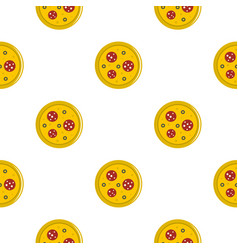 Pizza with sausage and olives pattern flat vector