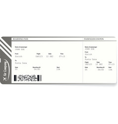 Realistic airline ticket and boarding pass design vector