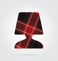 red black tartan icon - bedside table lamp vector image