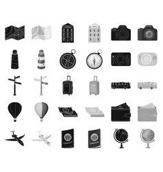 Rest and travel blackmonochrome icons in set vector