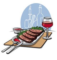 Roast beef and wine vector