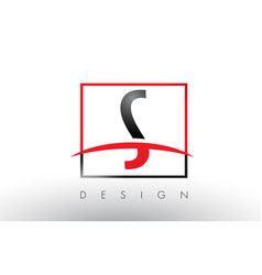 s logo letters with red and black colors and vector image