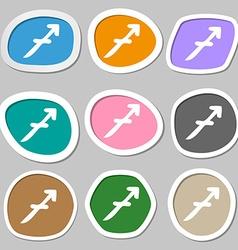 Sagittarius symbols Multicolored paper stickers vector