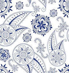 Seamless abstract pattern with doodle flower vector image