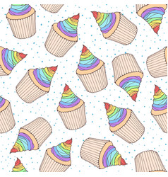 seamless pattern with cupcakes and muffins with vector image