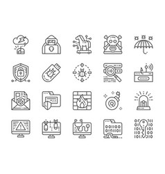 set cyber security line icons spy agent vector image