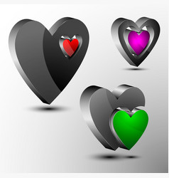 Set of 3d hearts futuristic logo vector