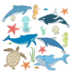 set of cartoon sea animals mollusks vector image