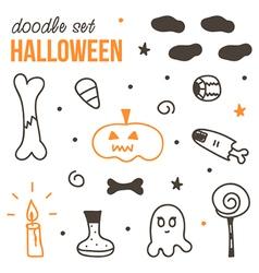 Set of cute black and orange halloween doodles vector