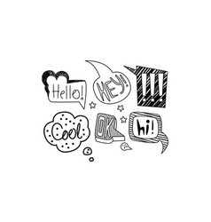set of hand drawn speech bubbles with short vector image
