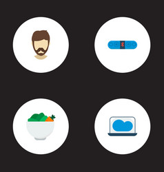 set of trend icons flat style symbols with vegan vector image