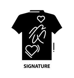 Signature icon black sign with editable vector