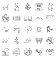 Summer cottage icons set outline style vector