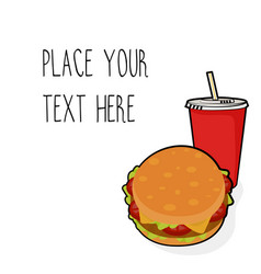 Template with burger and red soda cup vector