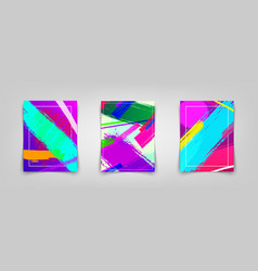 Three colorful posters with paint strokes vector