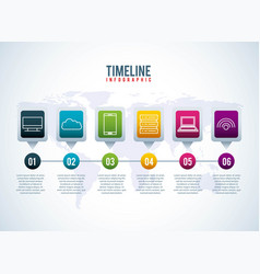 Timeline infographic world conection storage vector