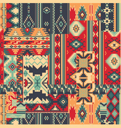 traditional native american style fabric patchwork vector image