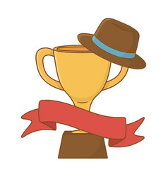 Trophy with hat and ribbon vector