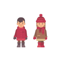 two cute little kids in winter clothes christmas vector image