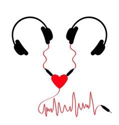 Two headphones Earphones couple Audio splitter vector