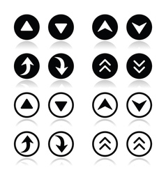 Up and down arrows round icons set vector