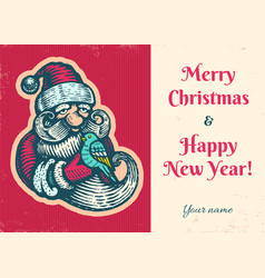vintage card with santa vector image
