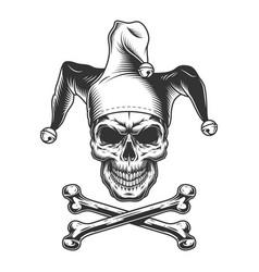 Vintage monochrome jester skull vector