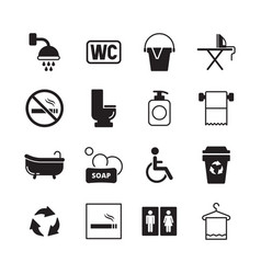 wc pictogram male and female public toilets icons vector image