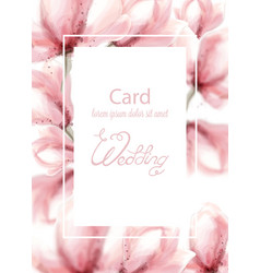 Wedding card with pink flowers watercolor vector