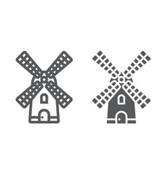 Windmill line and glyph icon farming vector