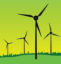 Windmills on green grass vector