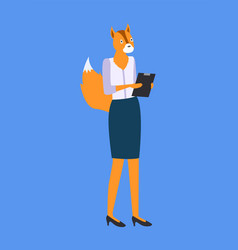 woman with fox or squirrel head and tail isolated vector image