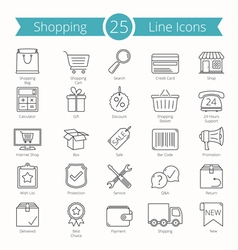 25 Shopping Line Icons vector image vector image