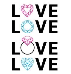 diamond love word art vector image vector image