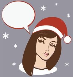 santa brunette girl vector image