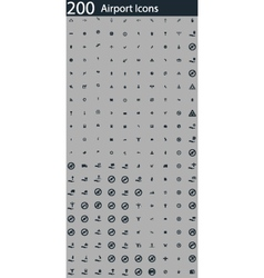 set of 200 airport icons vector image