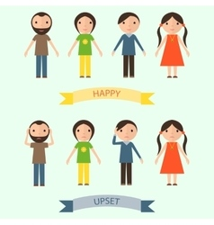 Set of characters with happy and upset emotions vector image
