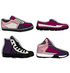 a set of shoes blue purple and lilac sport shoes vector image vector image