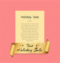 best holiday sale golden label ribbon isolated vector image
