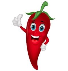 Chili cartoon with thumb up vector image