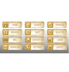 elegant golden web buttons icons set vector image