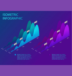 isometric set of infographics with data financial vector image vector image